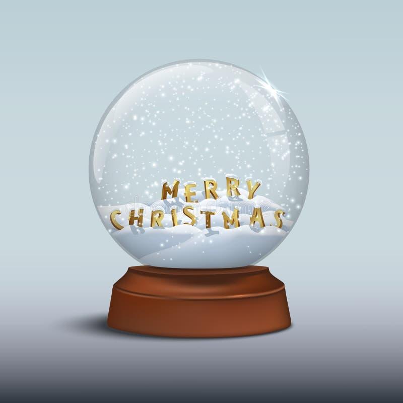 Sneeuwbol met Vrolijke Kerstmistekens VROLIJKE KERSTMISbrieven binnen sneeuwbol op bruine houten basis Vectorkerstmis stock illustratie