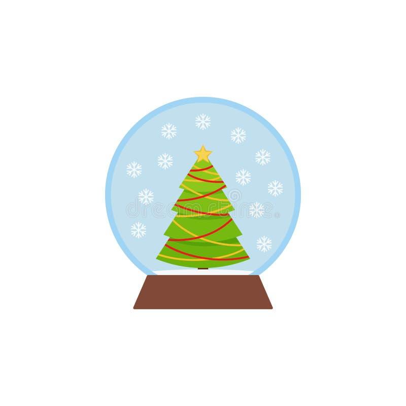 Sneeuwbol, sneeuwbal Het pictogram van Kerstmis Vectorillustratie in vlak ontwerp stock illustratie
