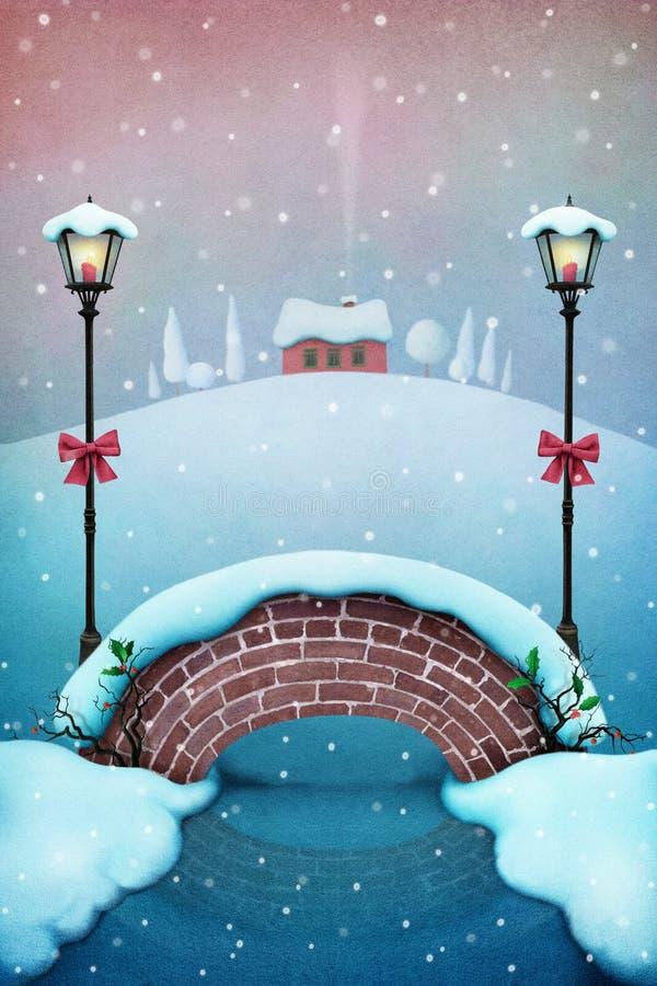 Sneeuwbrug royalty-vrije illustratie