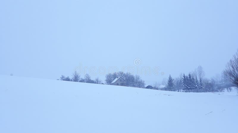 Sneeuwdag in dorp stock afbeeldingen