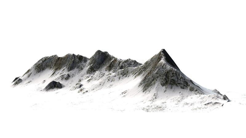 SneeuwdieBergen - Bergpiek - op witte Achtergrond wordt geïsoleerd royalty-vrije stock afbeelding