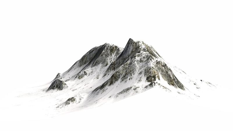 SneeuwdieBergen - Bergpiek - op witte Achtergrond wordt geïsoleerd stock fotografie