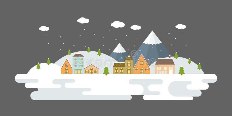 Sneeuwend stedelijk de winterlandschap vector illustratie