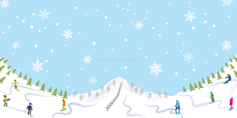 Sneeuwende Skihelling royalty-vrije illustratie