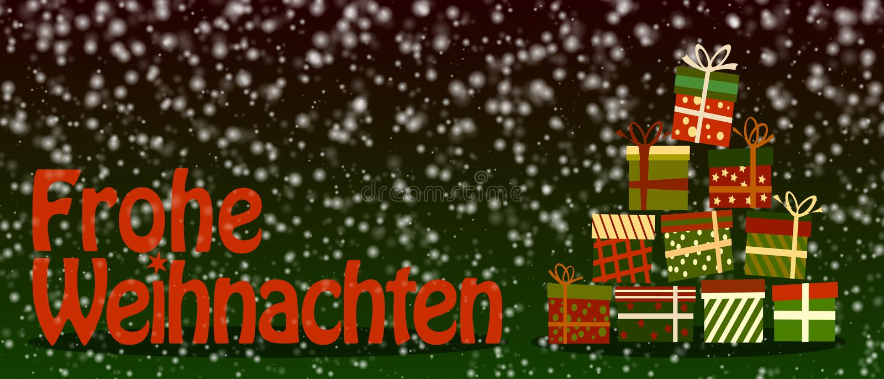 Sneeuwfrohe Weihnachten, vrolijke Kerstmis in het Duits, banner of groetkaart met kleurrijke giftdozen vector illustratie