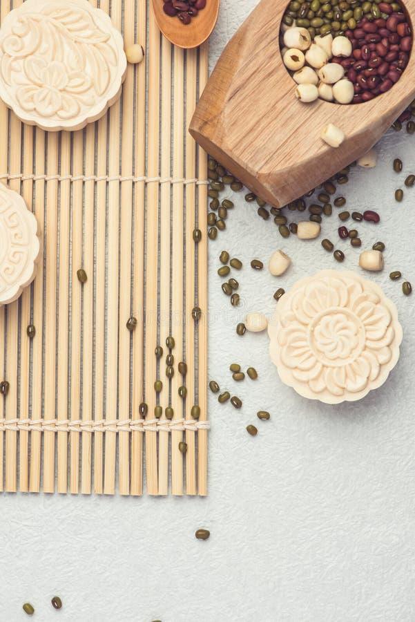 Sneeuwhuid mooncakes Het Chinese medio traditionele voedsel van het de herfstfestival royalty-vrije stock foto's