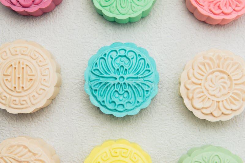 Sneeuwhuid mooncakes Het Chinese medio voedsel van het de herfstfestival Traditi stock foto