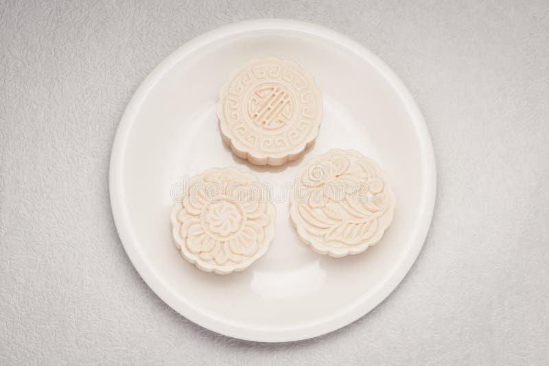Sneeuwhuid mooncakes Het Chinese medio voedsel van het de herfstfestival Traditi royalty-vrije stock afbeeldingen