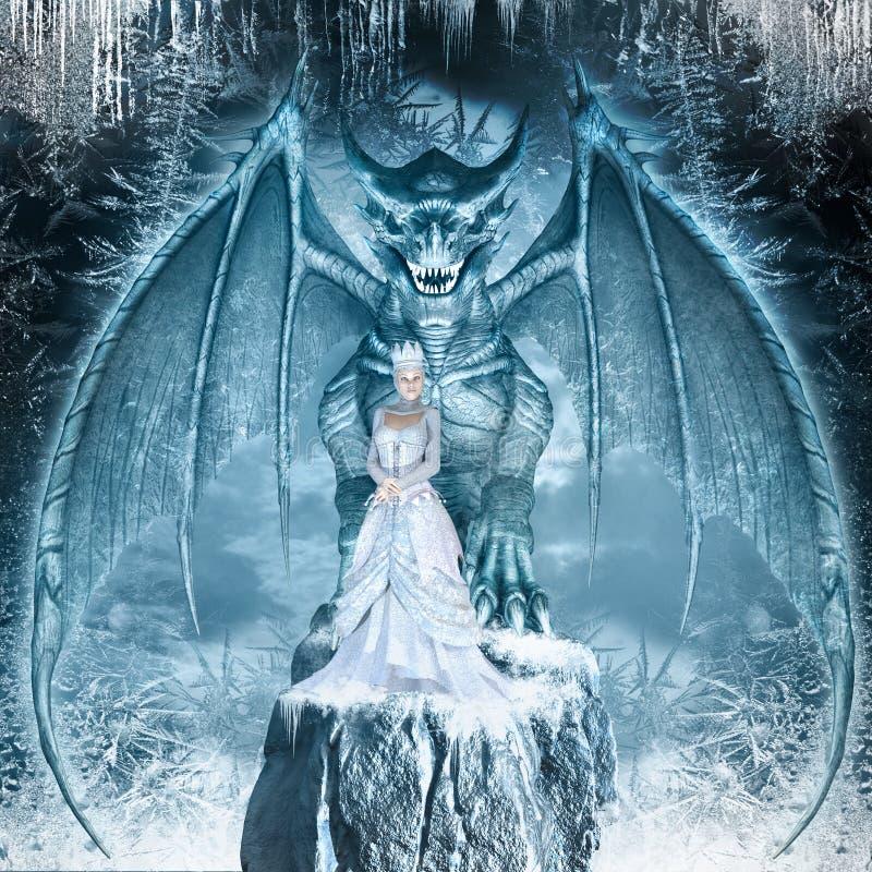 Sneeuwkoningin en blauwe draak royalty-vrije illustratie