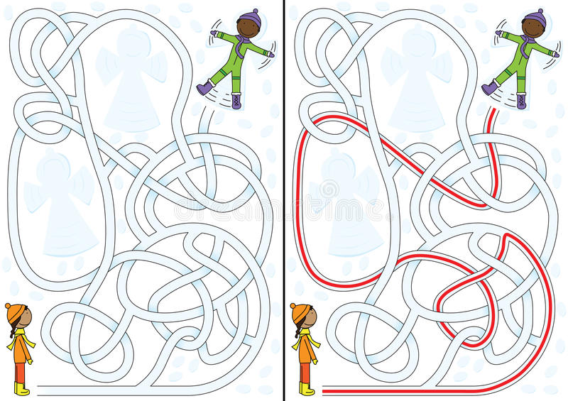 Sneeuwlabyrint stock illustratie