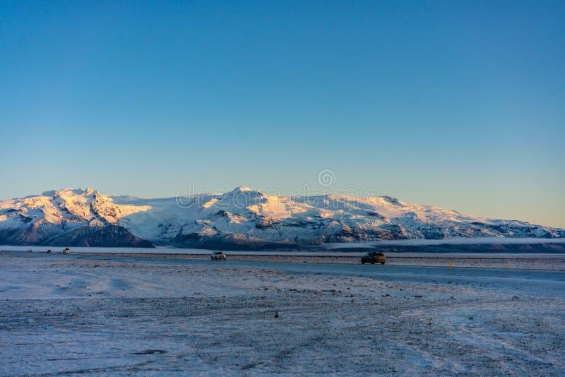 Sneeuwlandschap in IJsland stock fotografie