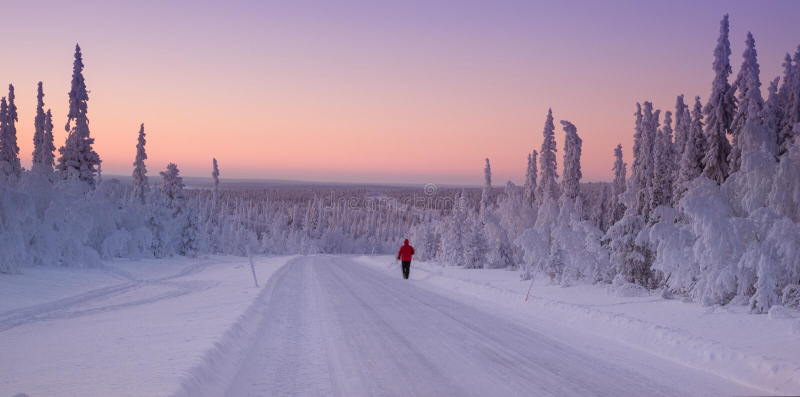 Sneeuwlandschap van Finland, Lapland stock afbeeldingen