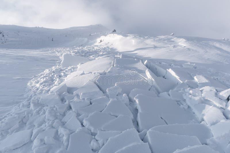 Sneeuwlawine in de winterbergen stock fotografie