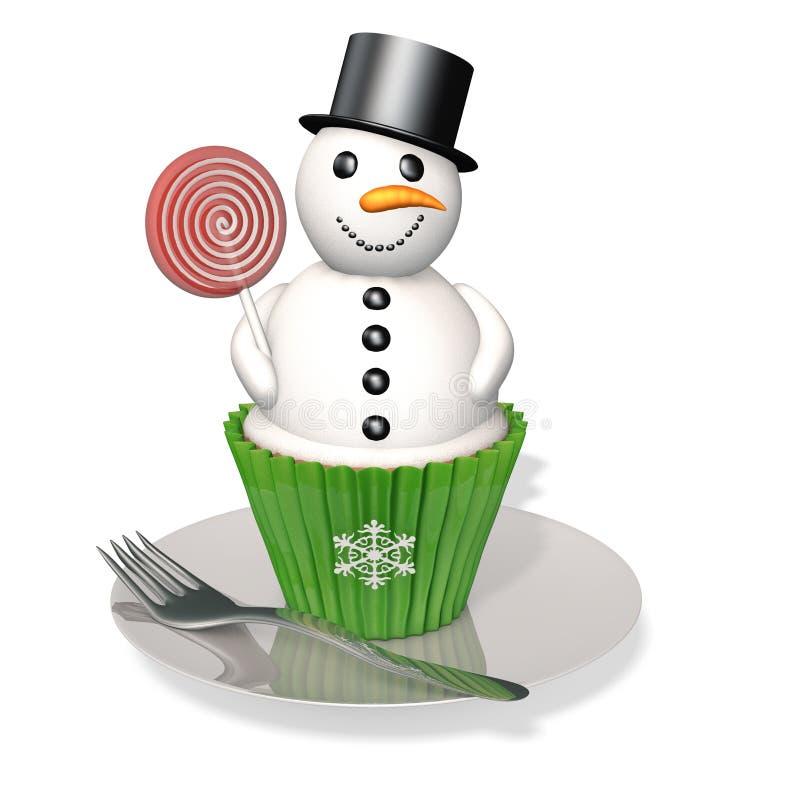 Sneeuwman Cupcake royalty-vrije illustratie