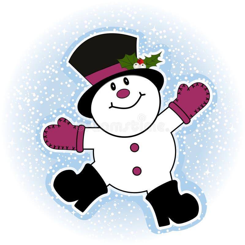 Sneeuwman die sneeuwengel maakt vector illustratie