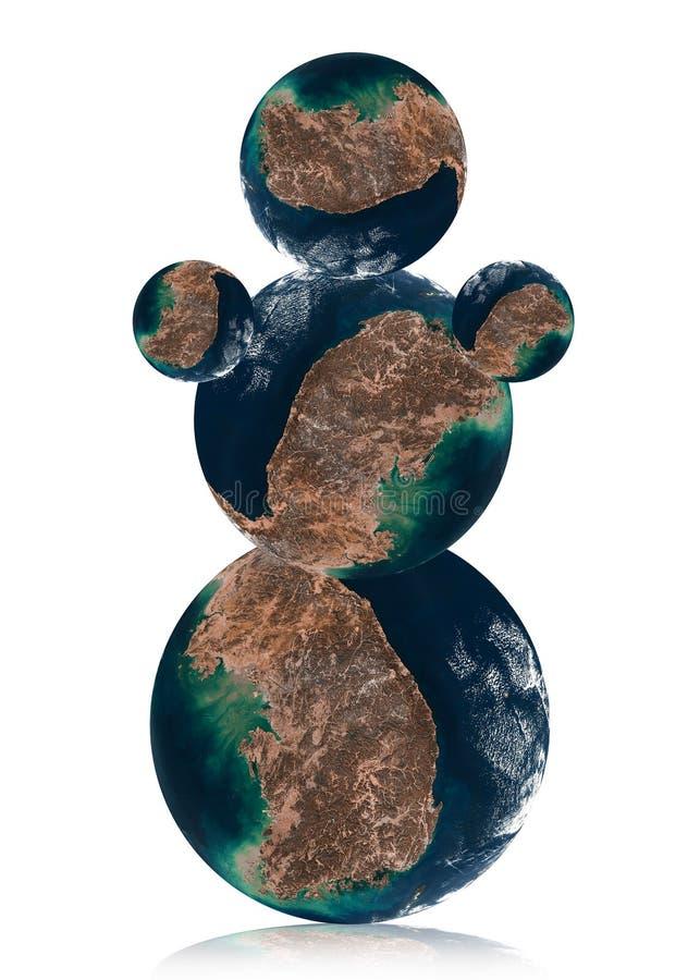 Sneeuwman door de planeet van de Aarde stock illustratie