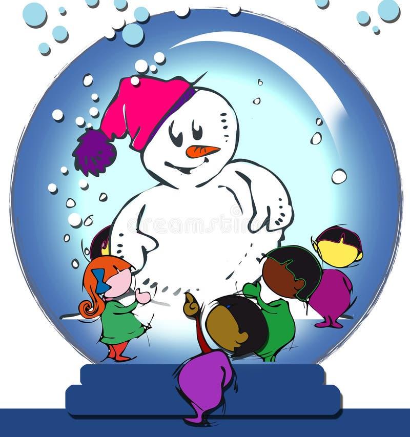 Sneeuwman in een glasbal stock illustratie