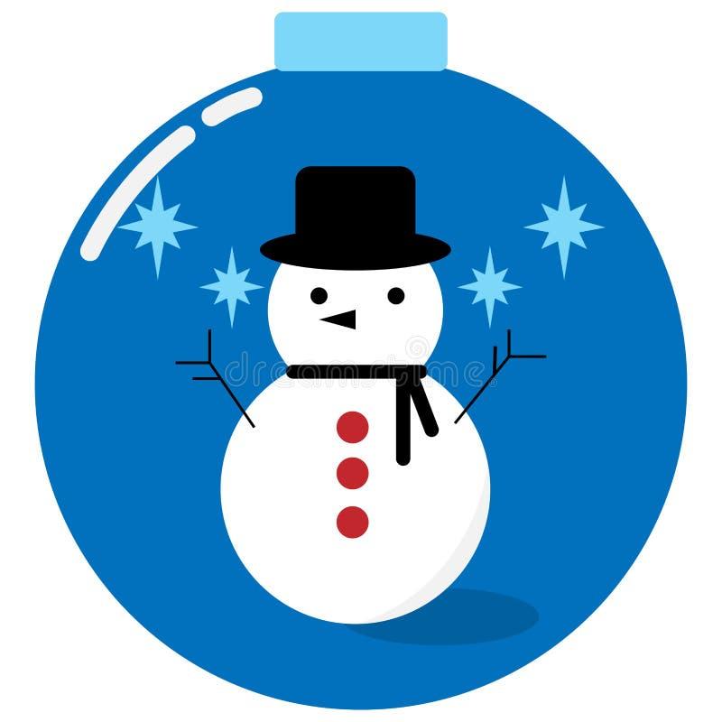 Sneeuwman in een Kerstmisbal stock foto's
