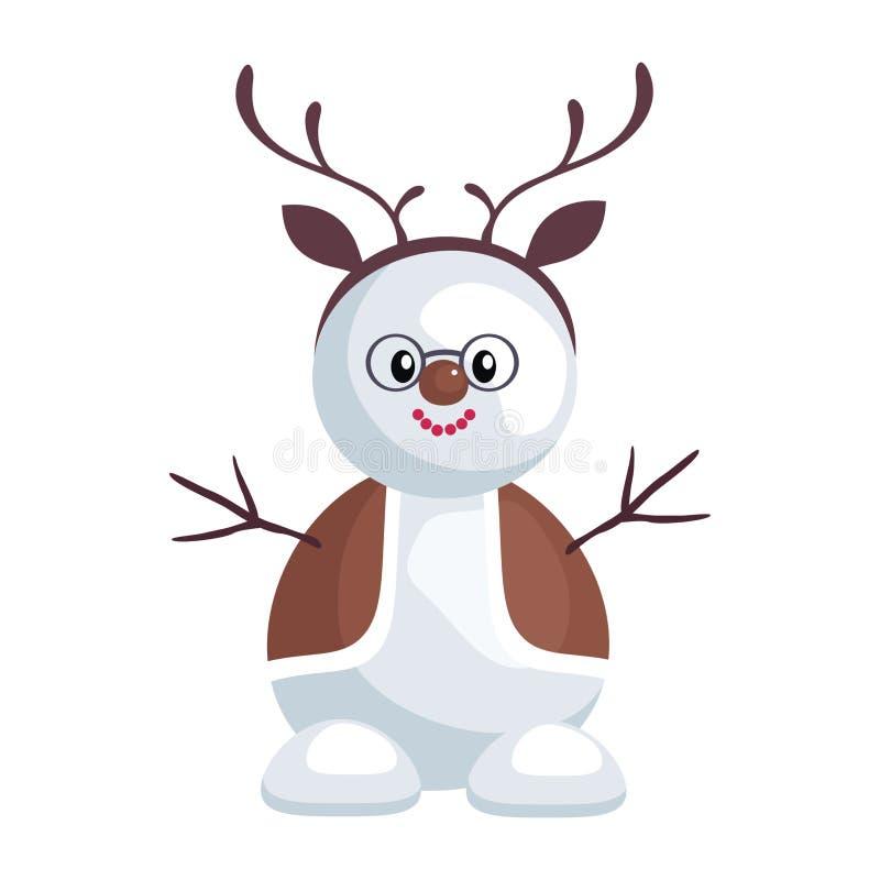 Sneeuwman in een rendierkostuum stock illustratie
