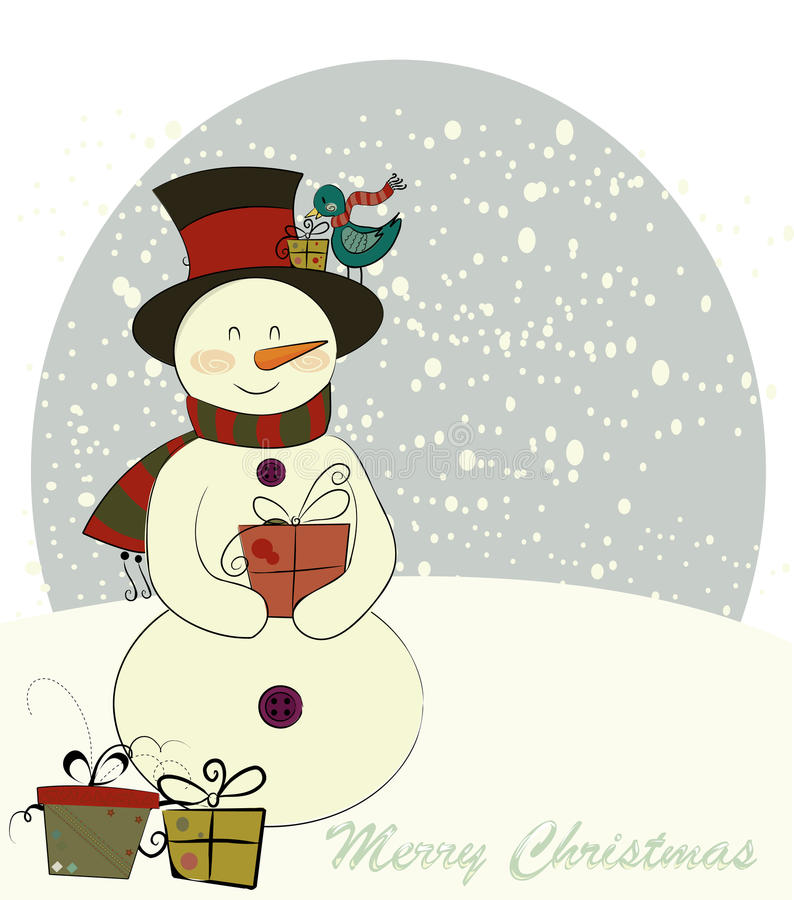 Sneeuwman en de vogel royalty-vrije illustratie