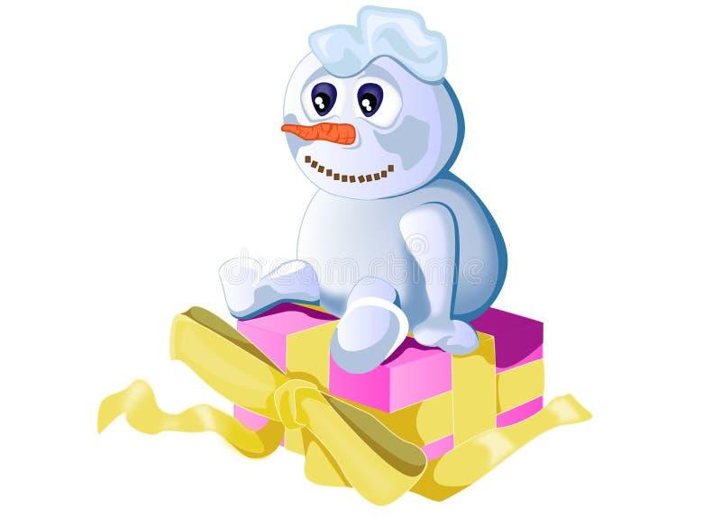 Sneeuwman en gift royalty-vrije stock foto's