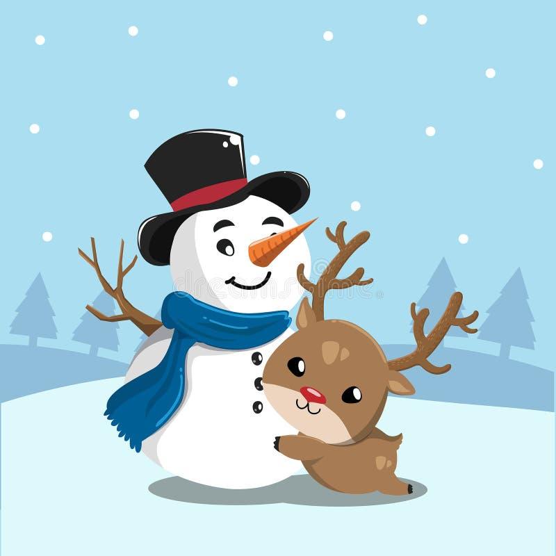 Sneeuwman en herten in sneeuwberg royalty-vrije illustratie