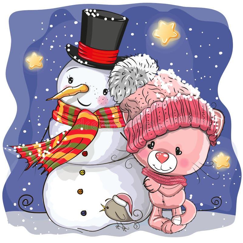 Sneeuwman en het Leuke meisje van het Beeldverhaalkatje royalty-vrije illustratie