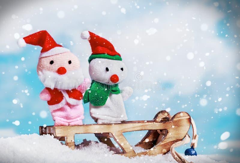 Sneeuwman en Kerstmanstuk speelgoed royalty-vrije stock fotografie