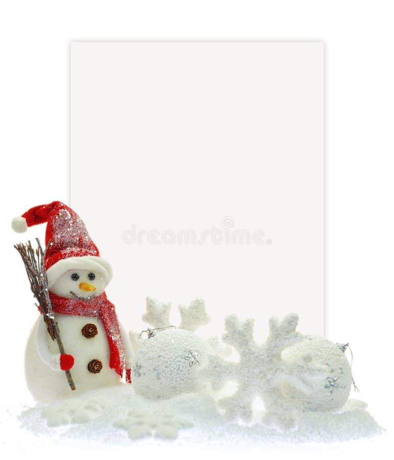 Sneeuwman en Kerstmisornamenten royalty-vrije stock foto