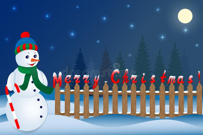 Sneeuwman en Kerstnachtlandschap Vector illustratie stock illustratie