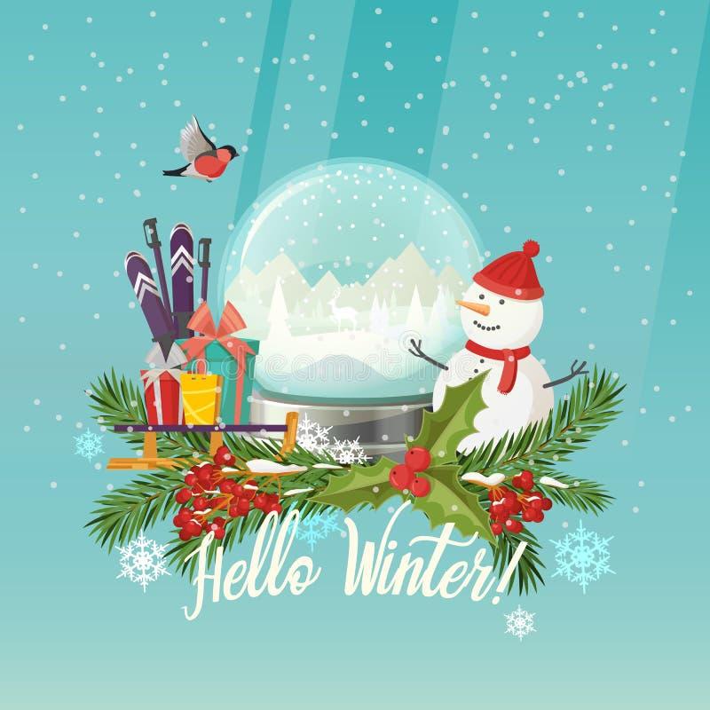 Sneeuwman en sneeuwbol, giften op ar, skistokken stock illustratie