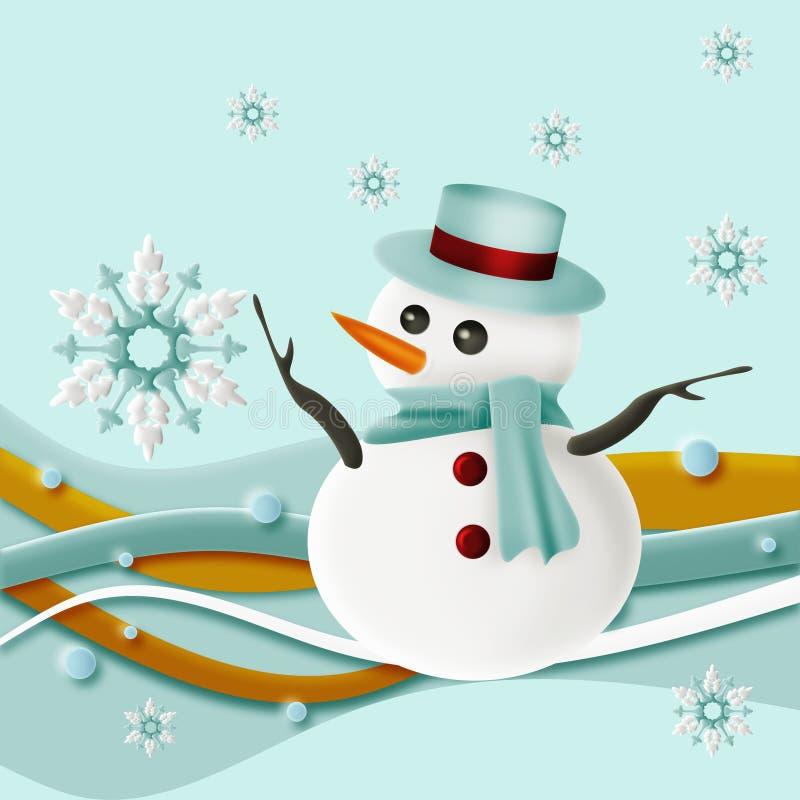 Sneeuwman en sneeuwvlokken met Werveling stock fotografie