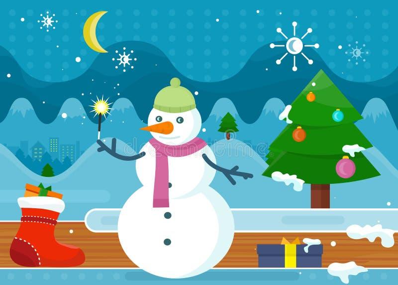 Sneeuwman in Groene Hoed en Roze Sjaal wonderland stock illustratie