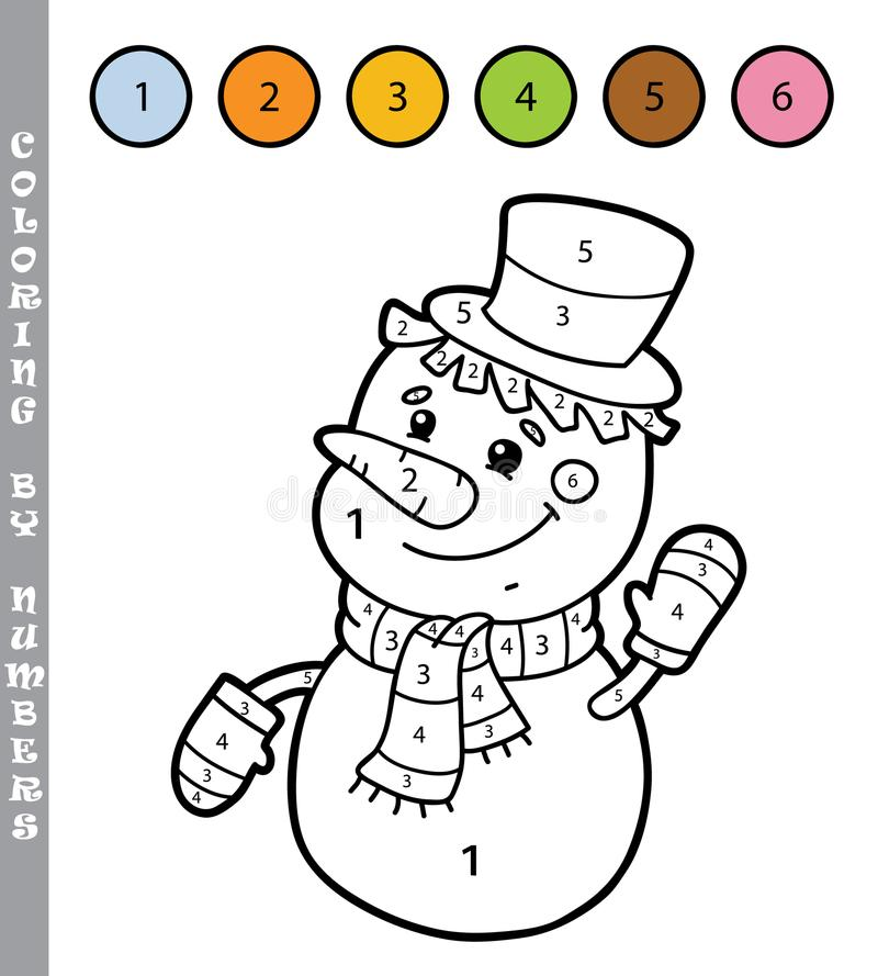 Sneeuwman het kleuren door aantallen stock illustratie