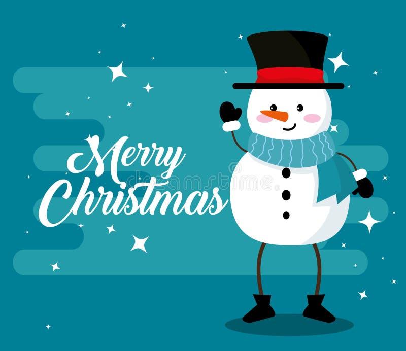 Sneeuwman met armen en benen aan vrolijke Kerstmis stock illustratie