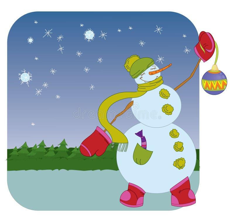 Sneeuwman met de bal van Kerstmis op de winterachtergrond vector illustratie
