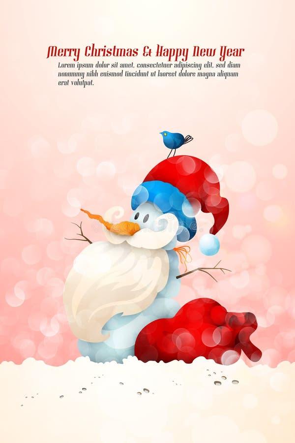 Sneeuwman met de Hoed van de Kerstman met de Grote Zak van de Gift royalty-vrije illustratie