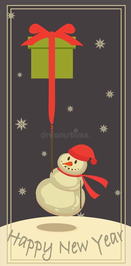 Sneeuwman met een gift royalty-vrije stock fotografie