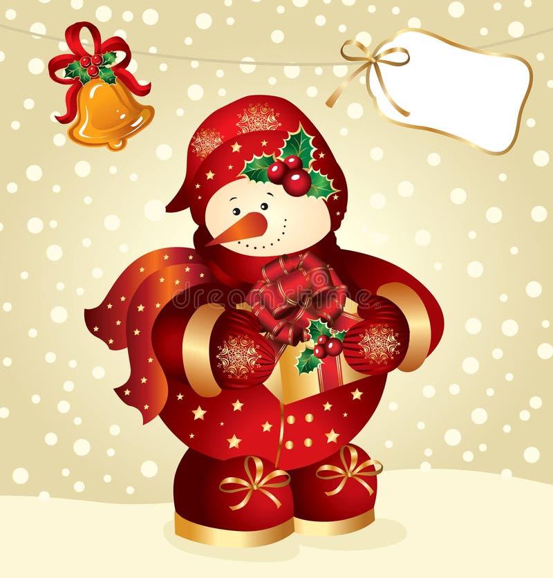 Sneeuwman met gift vector illustratie