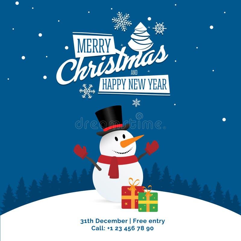 Sneeuwman met giften en teken - Vrolijke Kerstmis en de Gelukkige banner van de Nieuwjaarpartij, groetenkaart royalty-vrije illustratie