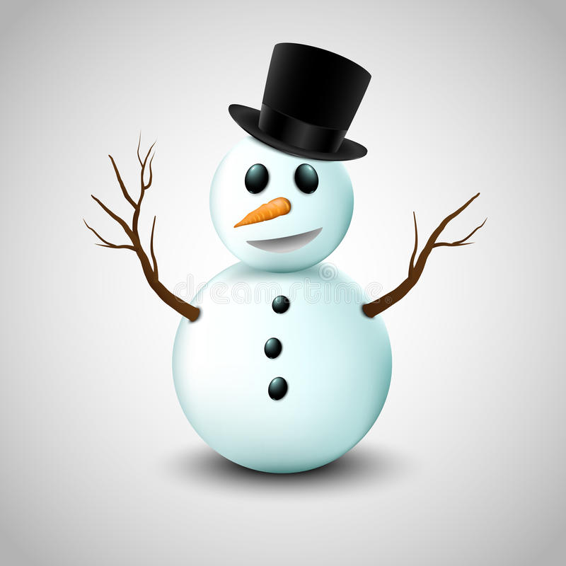 Sneeuwman met hoed royalty-vrije illustratie