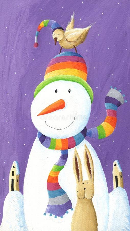 Sneeuwman met hoed en vogel stock illustratie