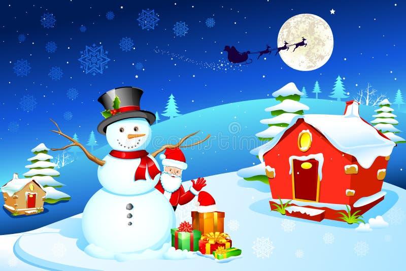 Sneeuwman met Kerstman vector illustratie