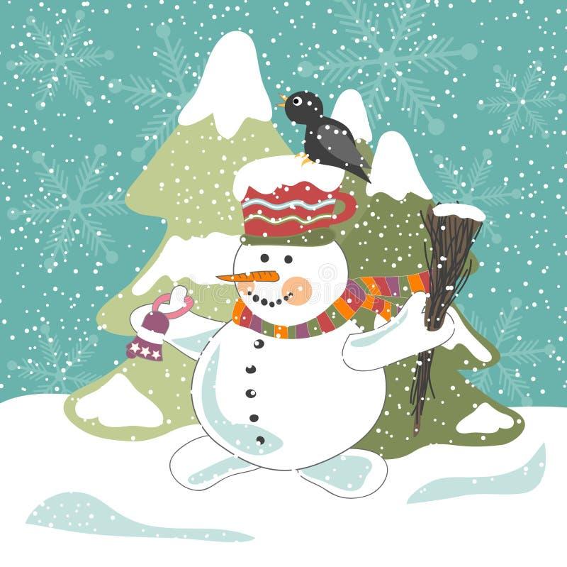 Sneeuwman met kraai vector illustratie