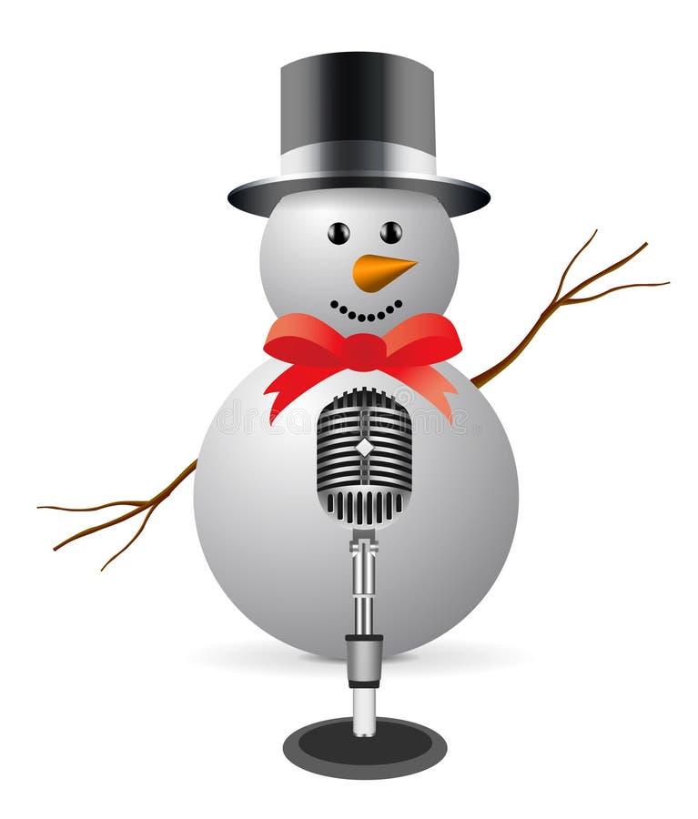 Sneeuwman met microfoon royalty-vrije illustratie