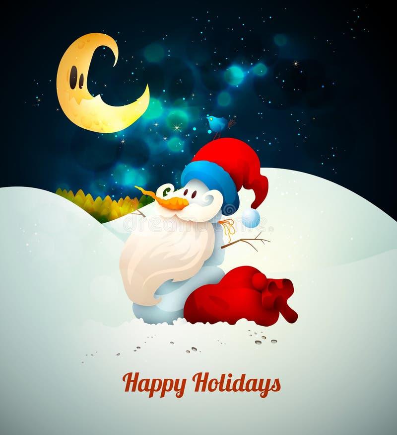 Sneeuwman met Santas-Hoed met Groot Giftzak en Bi stock illustratie