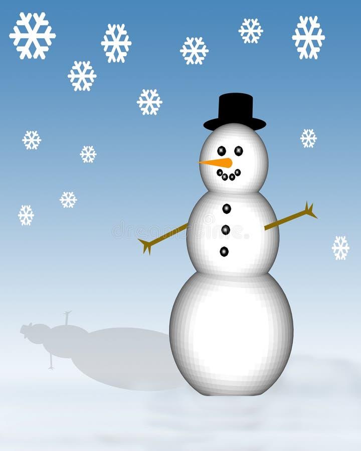 Sneeuwman met Sneeuwvlokken royalty-vrije illustratie