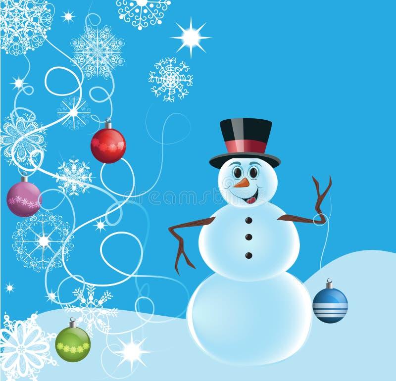 Sneeuwman met sneeuwvlokken en decoratie royalty-vrije stock foto's