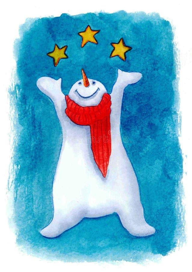 Sneeuwman met sterren stock illustratie