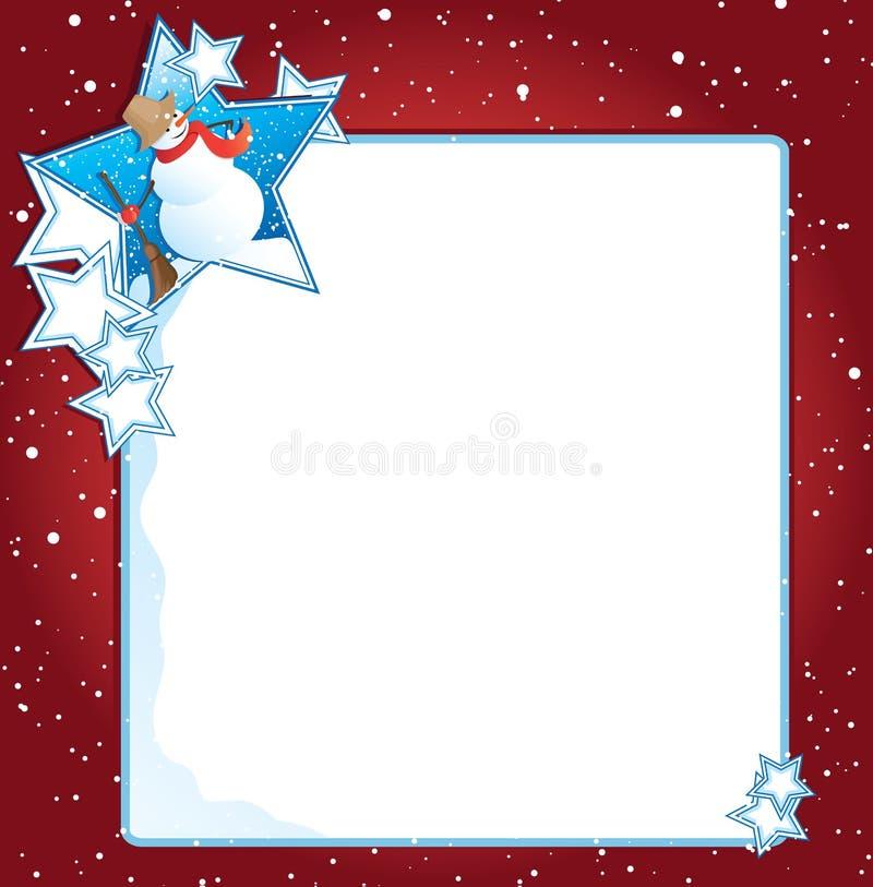 Sneeuwman met sterrenachtergrond royalty-vrije illustratie